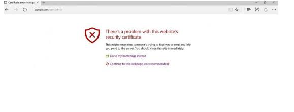 Security certificate error Windows Edge
