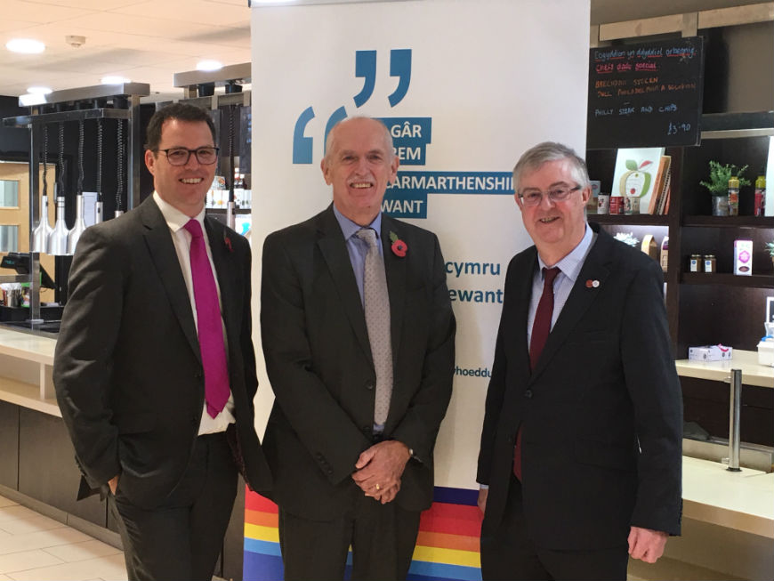 Lee Waters, AM, Barry Liles, OBE and Mark Drakeford, First Minister at UWTSD Carmarthen