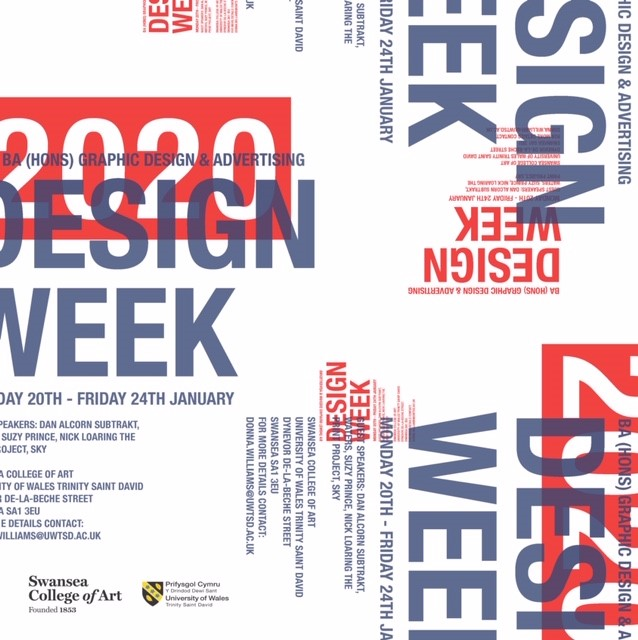 The BA Graphic Design, and BA Advertising & Brand Design will be launching their sixth Annual 'Design Week' Festival.  'Design Week' is an opportunity for students to engage with prestigious designers and companies and this year is promising to be another exciting and challenging week with speakers from Sky, The Print Room, Subtrakt, Waters, and Suzy Prince.