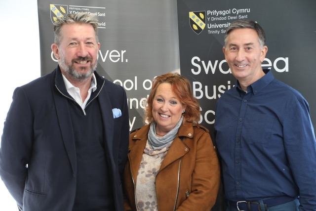 UWTSD's Vic Saunders and Jacqui Jones pictured with Richard Lewis, Travel and Tourism Consultant at What3Words