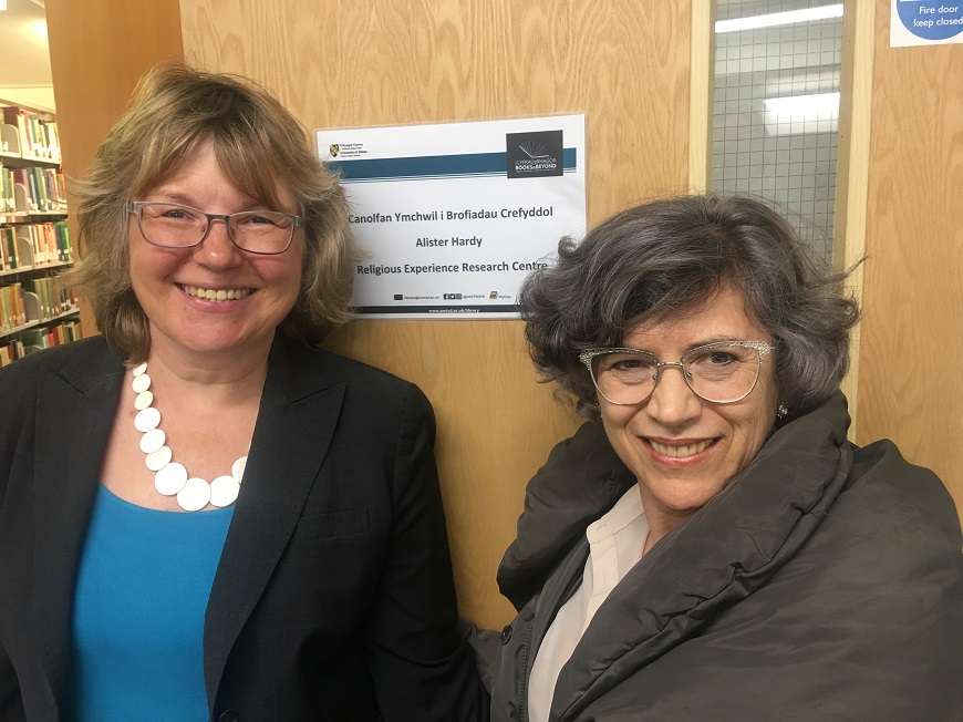 Professor Bettina Schmidt welcoming Professor Marta Helena de Freitas to UWTSD's Religious Experience Research Centre at the beginning of the year