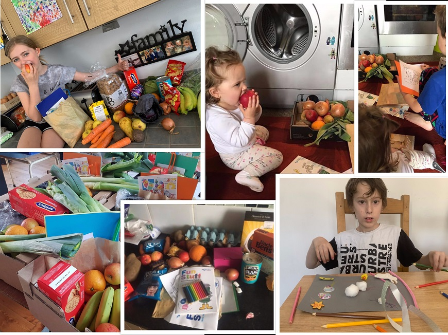 a collage of images of children with food